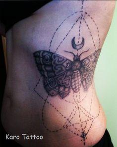 geometric tattoo, moth dotwork karo tattoo on facebook