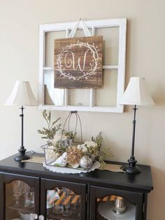 Living Room decor - rustic farmhouse style console table with twin rustic lights and initial Pallet Sign by JoyfullyBittersweet on Etsy