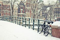 amsterdam.  Take me back! Amsterdam Winter, Amsterdam Bike, Amsterdam Holland, Winter Cycling, Snow And Ice, Sherri Hill, Where To Go, Oh The Places You'll Go, Wonderful Time
