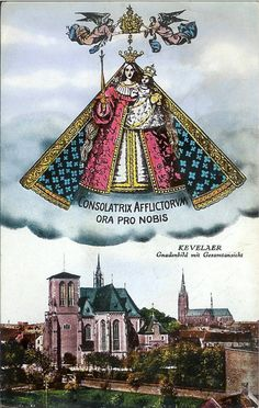 A vintage postcard of Our Lady of Kevelaer with the city below.