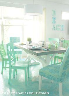 Pastel Beach Cottage Dining Room Kitchen