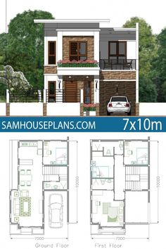 Home Plan Meter 4 Bedrooms Home Plan Meter 4 Bedrooms – Sam House Plans Two Story House Design, Modern Small House Design, 2 Storey House Design, Duplex House Design, House Front Design, Simple House Plans, My House Plans, Duplex House Plans, Small House Floor Plans