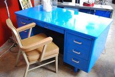 Love this vintage metal office desk