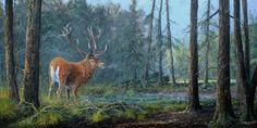 edelhert schilderij red deer painting