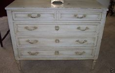 French provincial Louis XVI white commode-perfect companion piece for bed-rough around the edges, but its subtle details ooze French charm. Furniture Fix, Upcycled Furniture, Furniture Making, Furniture Makeover, Furniture Design, Furniture Refinishing, French Provincial Furniture, French Furniture, Painted Furniture