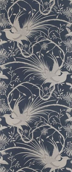 Imperial Pheasant Wallpaper Ming Blue (10792-531) – James Dunlop Textiles | Upholstery, Drapery & Wallpaper fabrics