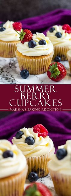 Summer Berry Cupcakes - Deliciously moist and fluffy vanilla cupcakes stuffed with summer berries, and topped with a sweet buttercream frosting! Berry Cupcakes, Summer Cupcakes, Fun Cupcakes, Cupcake Cakes, Cupcake Ideas, Savory Cupcakes, Moist Vanilla Cupcakes, School Cupcakes, Pretty Cupcakes