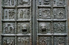 The bronze doors of Sophia Cathedral, in Novgorod  were probably wrought and sculptured in Magdeburg in the years 1152-1154 for the Archbishop of Plock in Poland - They are now at the West Entrance of the cathedral of Novgorod