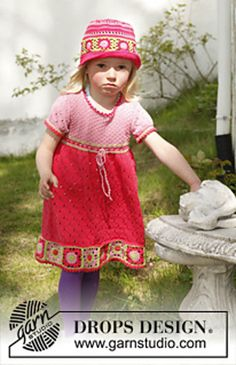 """Ravelry: Sweet Berry Dress - Knitted dress with short sleeves and crochet squares at the bottom in """"Safran"""" pattern by DROPS design Knitting For Kids, Crochet For Kids, Baby Knitting, Knit Crochet, Crochet Granny, Crochet Pattern, Free Pattern, Knitted Baby Clothes, Crochet Clothes"""