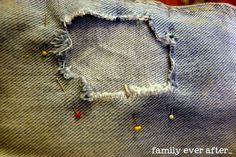 Mending holes in pants. I so need this. We have a hole in at least one of everyone of the kids pants.