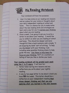 Reading Notebook Insert from Teaching My Friends (blog)
