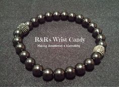 Mens Black  Beaded Bracelet by RandRsWristCandy on Etsy, $7.00