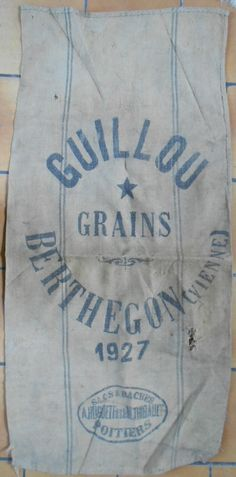 Linen hemp fabric, vintage french grain sack, Authentic 1927.