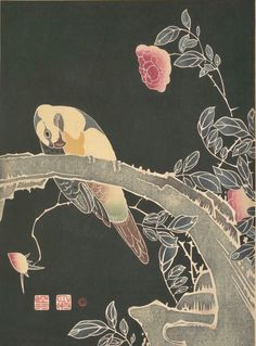 Parrot on the Branch of a Flowering Rose Bush. Itō Jakuchū (Japanese, 1716–1800). Printed in Meiji period ca. 1900. Japanese woodblock print; ink and color on paper. The Met Museum
