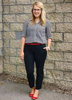Gingham shirt and red ballet flats