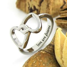"Infinity Ring Lovers Ring Double Hearts Promise Wedding Ring ""Love you"