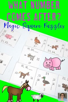 "Working with numbers 1-24 can be hard for your preschool and Kindergarten students, but it doesn't need to be! Give them plenty of hands-on practice with these fun, engaging Magic Square Puzzles! Let students practice ""what number comes after"" to get lots of great practice in each day! Two different puzzles to get plenty of practice! {preK and Kinder} $"