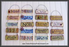 Printable Paint Stick Ornaments {Tutorial} - cut, print, mod podge. Good, cheap, library craft!