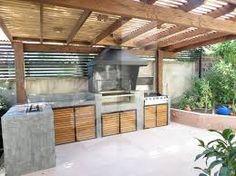 Risultati immagini per quinchos modernos Modern Outdoor Kitchen, Outdoor Spaces, Outdoor Living, Backyard Projects, Backyard Patio, Patio Design, House Design, Dirty Kitchen, Gazebos