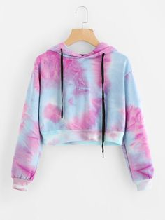 Water Color Drawstring Crop Hoodie Only US$16.00