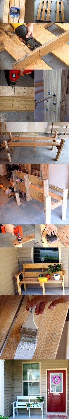 DIY Pallet Bench - doleenoted.blogspot.com - Banco con un palé
