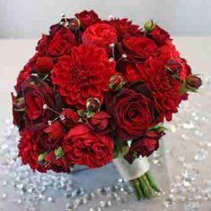 Crimson dahlias and red roses - bridal boquet