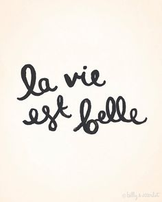 """La Vie Est Belle French Print """"Life is Beautiful"""" 8x10 Art Print - Neutral, Black and Vanilla - Ink illustration Typography - Classic Chic"""