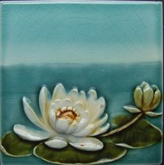 Waterlily Art Nouveau Tile