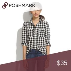 💥SALE: Flannel Oversized Boyshirt Buffalo Check An oversized flannel version of our favorite tomboy button-down shirt with a cool slit shirttail hem. An easy shape in timeless black-and-white buffalo checks.    •Slightly oversized. •Cotton. •Machine wash.  WORN ONCE, like new!   ➳ NO trades ➳ NO modeling ➳ Use 'offer' button to submit an offer Madewell Tops Button Down Shirts