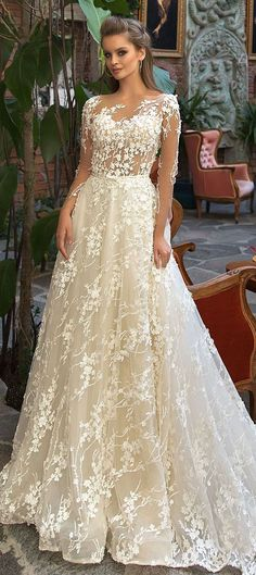 Long Sleeves Heavy embellishment a line wedding dress #wedding #weddingdress #weddinggown