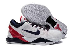 ad45f05cfad New Nike Zoom Kobe 7(VII) USA White Blue Red Red Basketball Shoes