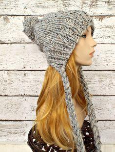 Instant Download Knitting Pattern - Knit Ear Flap Hat - Knit Hat Pattern for Charlotte Split Brim Slouchy Hat - Womens Hat - Fall Fashion