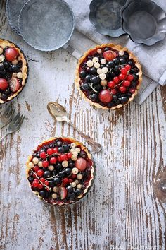 Tricolore berry tartlets.