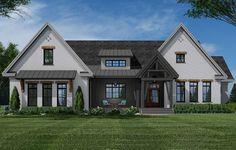 Plan 3 Bed New American Farmhouse Plan With Corner Covered Porch In Back Modern Farmhouse Plans, Farmhouse Design, Farmhouse Style, Farmhouse Bedrooms, Rustic Farmhouse, Vertical Siding, Shed Dormer, American Farmhouse, Floor Plan Drawing