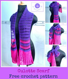 Crochet culotte scarf - free at Maz Kwok's Designs