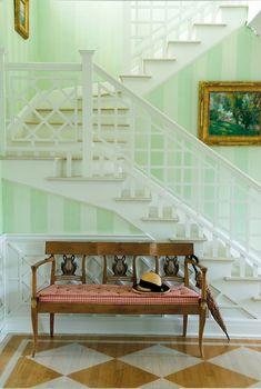 Leta Austin Foster Design | Mint Green Stripes | Stairway