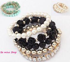 trendy Multilayer Armband-Set 5-teilig Rosen/Perlen-Design  in schwarz, mint und creme VK 5,95€ http://ebay.eu/1BCXnUQ oder bei DaWanda: http://bit.ly/1yBxjgz