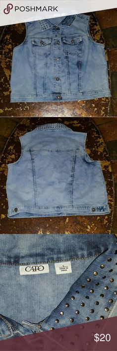Cato Sz L Stretch Studded Collar Denim Vest Excellent used condition Cato Jackets & Coats Vests