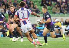 Cooper Cronk Photos Photos - Cooper Cronk of the Storm runs with the ball during the round 13 NRL match between the Melbourne Storm and the Newcastle Knights at AAMI Park on June 2, 2017 in Melbourne, Australia. - NRL Rd 13 - Storm v Knights