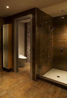 Love the open glass shower look. And love the seperate toilet room.... Open floor plans are my fave!