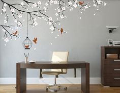 Tree branch decals cherry blossom branch wall decal Floral vinyl decal for  office living room nursery room branch with birds wall sticker