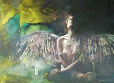 Nach Einbruch der Dunkelheit 050216, Mischtechnik, Karton 30x40 300g/m² Figure Painting, Figurative, Artwork, Artist, Angels, Atelier, Darkness, Idea Paint, Paper Board