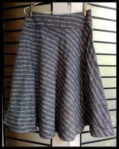 grey ikat bias cut short skirt