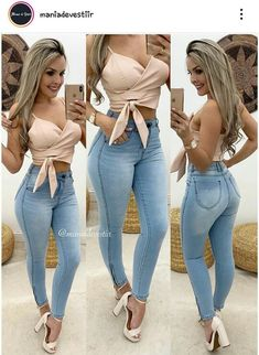 Hot Outfits, Night Outfits, Summer Outfits, Girl Fashion, Fashion Outfits, Womens Fashion, Sexy Jeans, Girls Jeans, Clothes