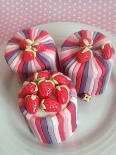 Strawberry and Stripes Mini Cakes