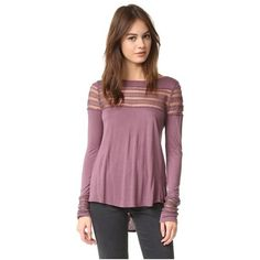 Free People Mesh Insert Roxie Tee (325 RON) ❤ liked on Polyvore featuring tops, t-shirts, purple, long sleeve t shirts, purple jersey, long sleeve tops, sweater pullover and sheer t shirt