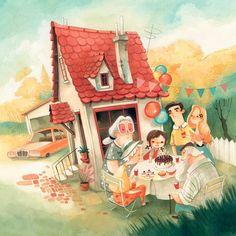 Daniela Volpari - Un compleanno nella giungla Family Illustration, House Illustration, Children's Book Illustration, Kids Story Books, Children's Picture Books, Graphic Design Art, Behance, Illustrators, Book Art
