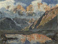 bei Adelboden, Berglandschaft mit Wolken, 1914, by Cuno Amiet