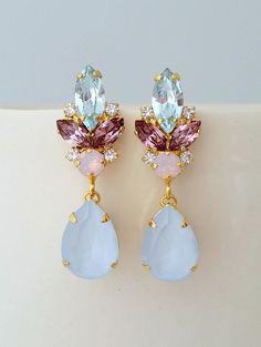 280c08f546f Blue pink earringsBridal earringsBlue opal chandelier Argint
