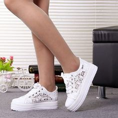 New-Women-Canvas-shoes-Platform-Spring-sneakers-internal-Increased-thick-Sole